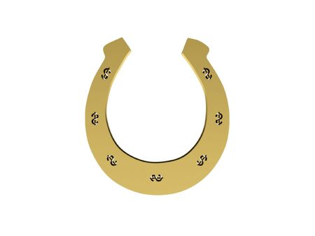 Gold horseshoe with dollar signs isolated on white background. High quality 3d render. Stock Photo - 6728900