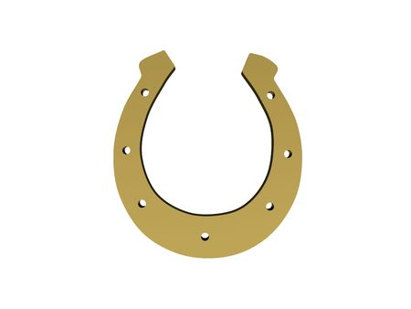 Gold horseshoe isolated on white background. High quality 3d render.