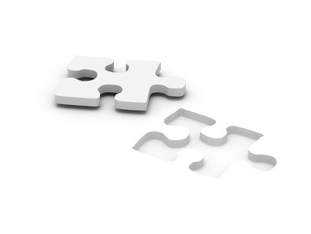 jigsaw puzzle. Part of puzzle isolated on white background. High quality 3d render. photo