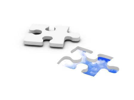 blue sky jigsaw puzzle. Part of puzzle with blue sky in hole. High quality 3d render.