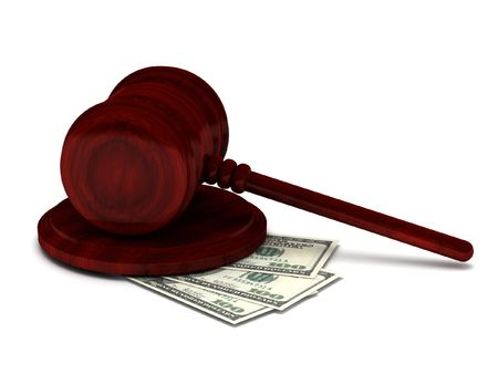 Corruption justice. Gavel and money isolated on white background. High quality 3d render. Stock Photo