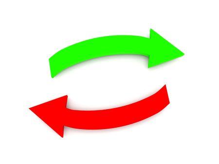 fl�che double: Transfert. Fl�ches vertes et rouges isol�es sur fond blanc. Rendu 3d de haute qualit�.  Banque d'images