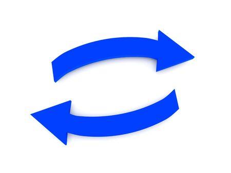 fl�che double: Transfert. Fl�ches bleues isol�es sur fond blanc. Rendu 3d de haute qualit�.