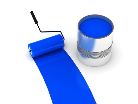 Blue paint. Roller and steel can isolated on white background. High quality 3d render.