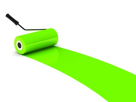 Green paint roller isolated on white background. High quality 3d render. photo