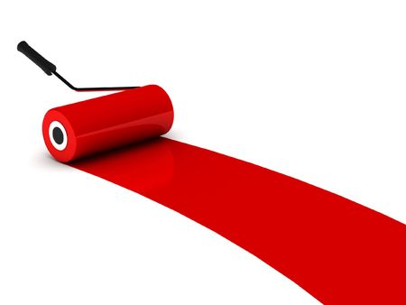 Red paint roller isolated on white background. High quality 3d render.