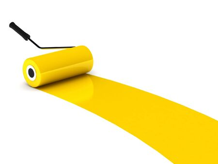 Yellow paint roller isolated on white background. High quality 3d render.