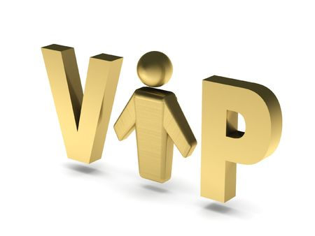 VIP person. Golden letters and human figure isolated on white background. High quality 3d render. Stock Photo