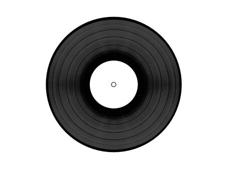 vynil: Black vynil disc with white clean label isolated on white background. Front view. High quality 3d render. Stock Photo