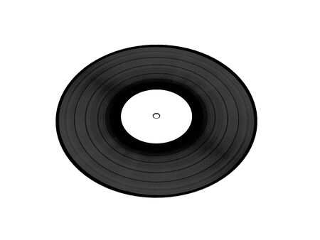 vynil: Black vynil disc with white clean label isolated on white background. Side view. High quality 3d render.