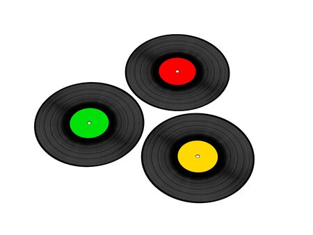 Three vynil records with multicolor labels (red, green and orange) isolated on white background. Side view. High quality 3d render. photo