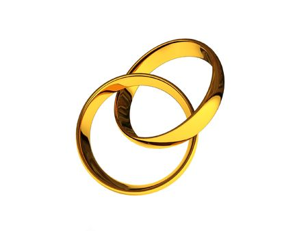 Intertwined golden wedding rings isolated on white background. High quality 3d render.