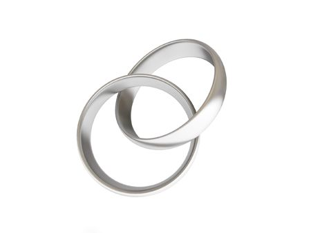 silver ring: Intertwined golden wedding rings isolated on white background. High quality 3d render.