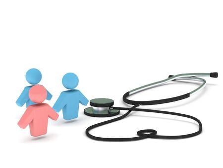 poblacion: Atenci�n de la salud. Estetoscopio y figuras humanas aisladas sobre fondo blanco. Procesamiento de 3d de alta calidad.