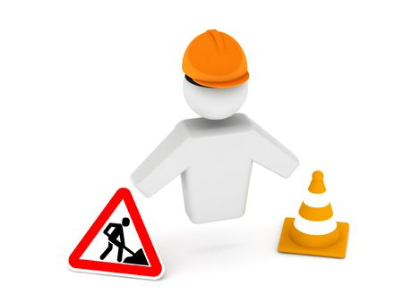 zones: Road worker. construction zone. Road woker, cone and road sign isolated on white background. High quality 3d render.