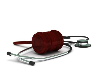 Medical report. Stethoscope and gavel isolated on white background. High quality 3d render.