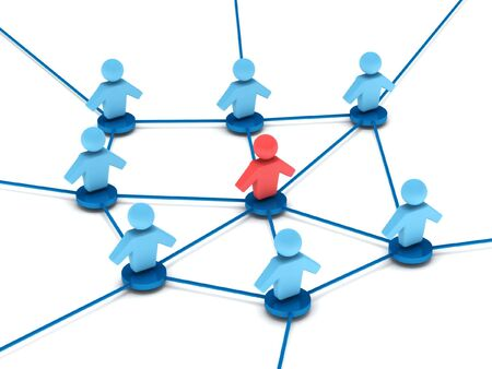 Business network. group of people with leader connected to each other. High quality 3d render. Stock Photo - 6872438