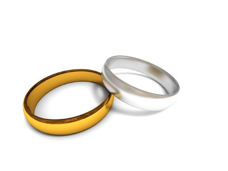 Golden and silver wedding rings isolated on white background. High quality 3d render. Stock Photo