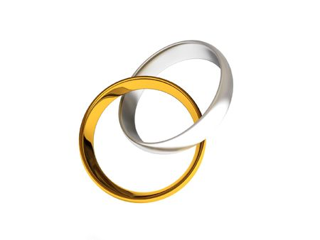 intertwined: Intertwined golden and silver wedding rings isolated on white background. High quality 3d render.