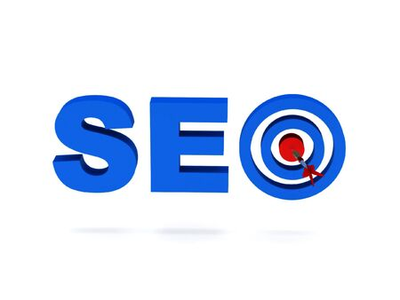 SEO. Blue letters and target isolated on white background. High quality 3d render. photo