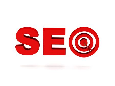 SEO. Red letters and target isolated on white background. High quality 3d render. photo
