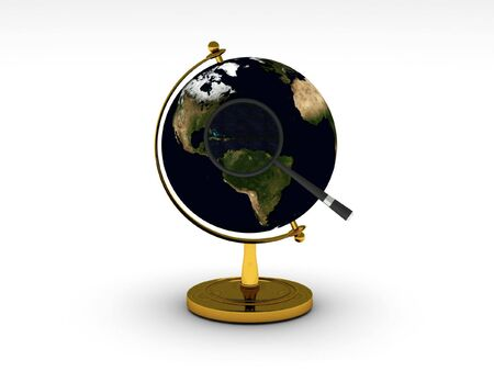 Global search. Globe and magnifying isolated on white background. High quality 3d render. photo