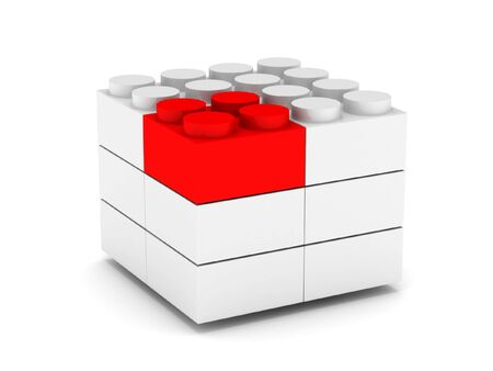Construction. Different concept. White and red blocks isolated on white background. High quality 3d render. Stock Photo - 6872464