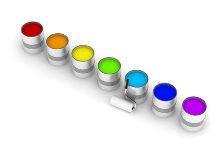 daubs: Seven cans with colors of rainbow isolated on white background. High quality 3d render.