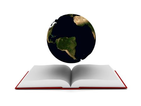 Global educational. Book and globe isolated on white background. High quality 3d render. photo