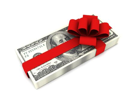 Gift of money. Stack of dollar bills with red ribbon isolated on white background. High quality 3d render. Stock Photo