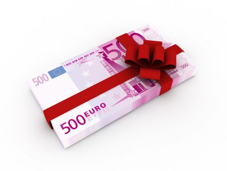 incentives: Gift of money. Stack of euro bills with red ribbon isolated on white background. High quality 3d render. Stock Photo