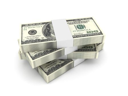 Stack of 100 dollar bills isolated on white background. High quality 3d render. Stock Photo