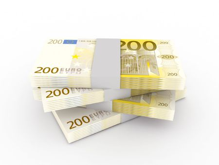 Stack of 200 euro bills isolated on white background. High quality 3d render.