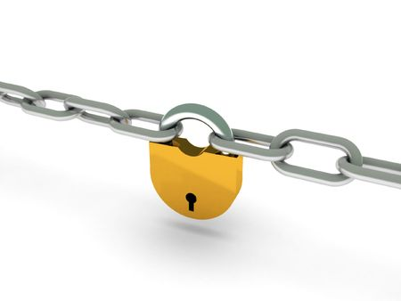 Chains with lock isolated on white background. High quality 3d render. photo