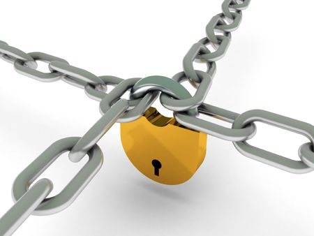 Crossed chains with lock isolated on white background. High quality 3d render. Stock Photo - 6973309