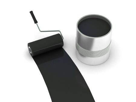 painted wall: Black paint. Roller and steel can isolated on white background. High quality 3d render.