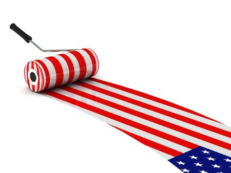 U.S. construction. USA flag paint roller isolated on white background. High quality 3d render.
