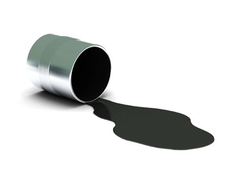spilling: Black spilled paint isolated on white background. High quality 3d render.