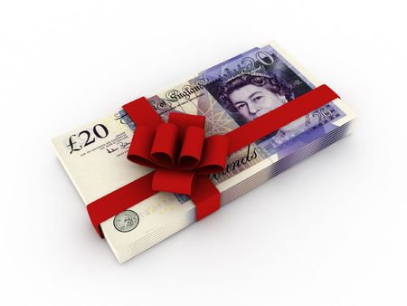 incentives: Gift of money. Stack of pound sterling bills with red ribbon isolated on white background. High quality 3d render.