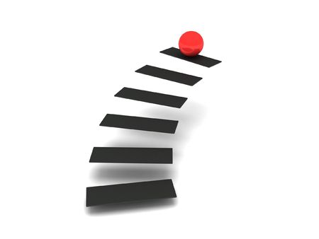 Ladder of success. Steps and red sphere isolated on white background. High quality 3d render.