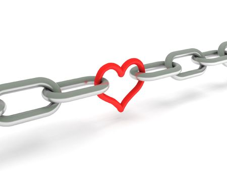 Love. Chains with red heart isolated on white background. High quality 3d render.