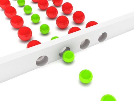 Solution. Big red balls and small green balls isolated on white background. High quality 3d render. photo