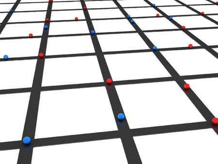 Network. Red and blue spheres on crossroads. High quality 3d render. Stock Photo - 6973347