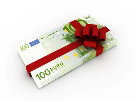 Gift of money. Stack of euro bills with red ribbon isolated on white background. High quality 3d render. Stock Photo