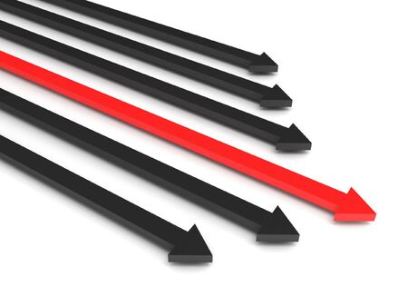 Competition. Black arrows and leading red arrow isolated on white background. High quality 3d render. photo