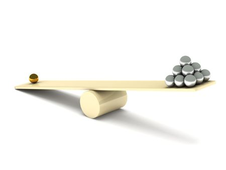 Imbalance. Metal balls on seesaw isolated on white background. High quality 3d render.