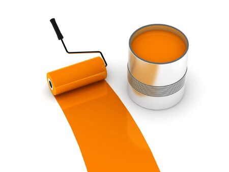 can pattern: Orange paint. Roller and steel can isolated on white background. High quality 3d render. Stock Photo