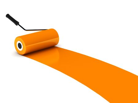 home addition: Orange paint roller isolated on white background. High quality 3d render.