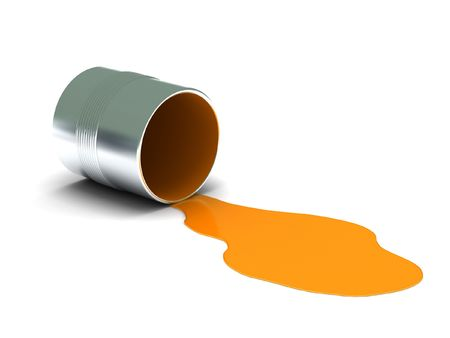 Orange spilled paint isolated on white background. High quality 3d render.