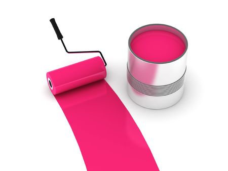 Pink paint. Roller and steel can isolated on white background. High quality 3d render. photo
